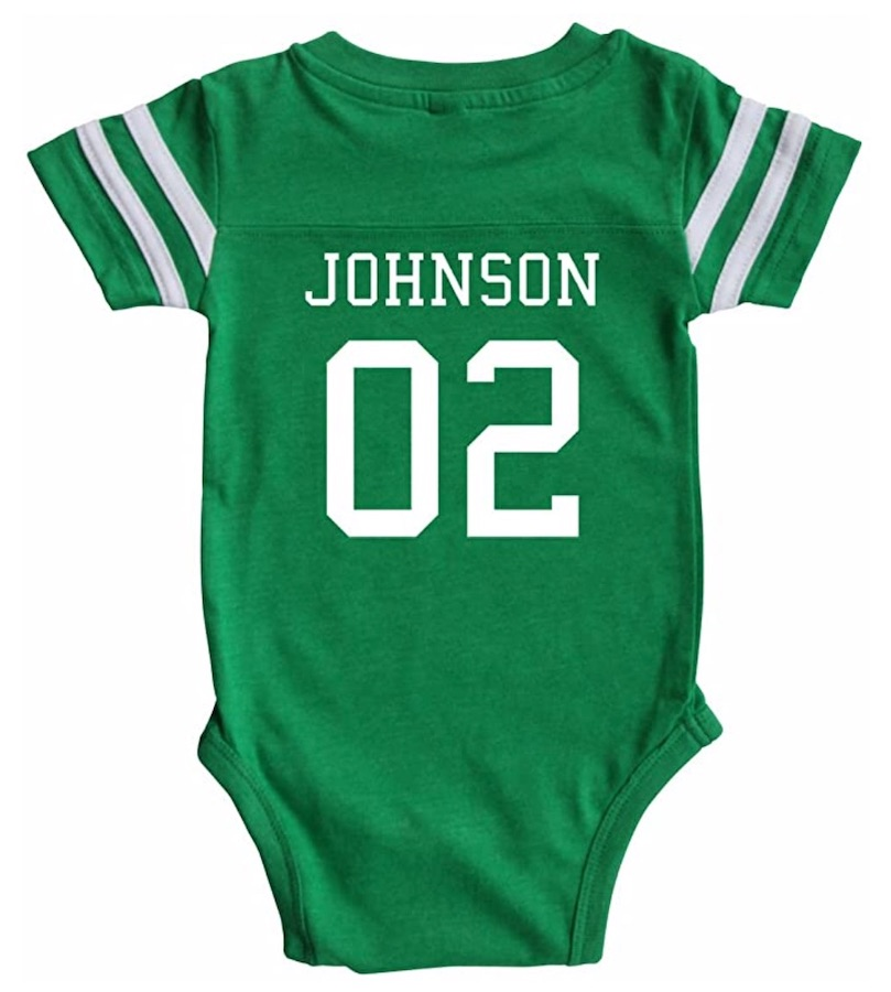 baby sports onesie - gift idea to tell husband you're pregnant