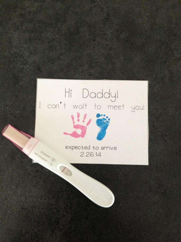 special note and pregnancy test to tell husband you're pregnant