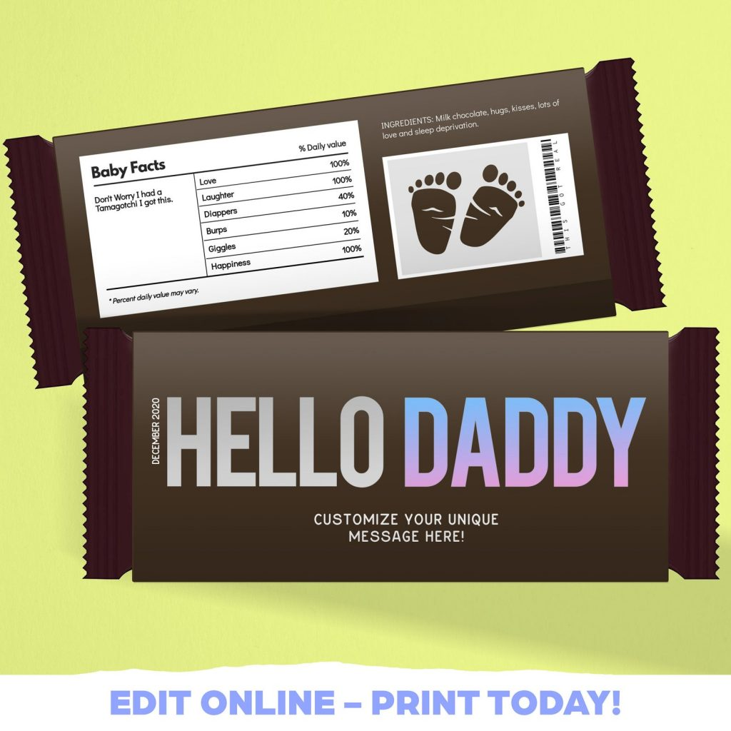 Daddy candy bar as a way to tell husband you're pregnant
