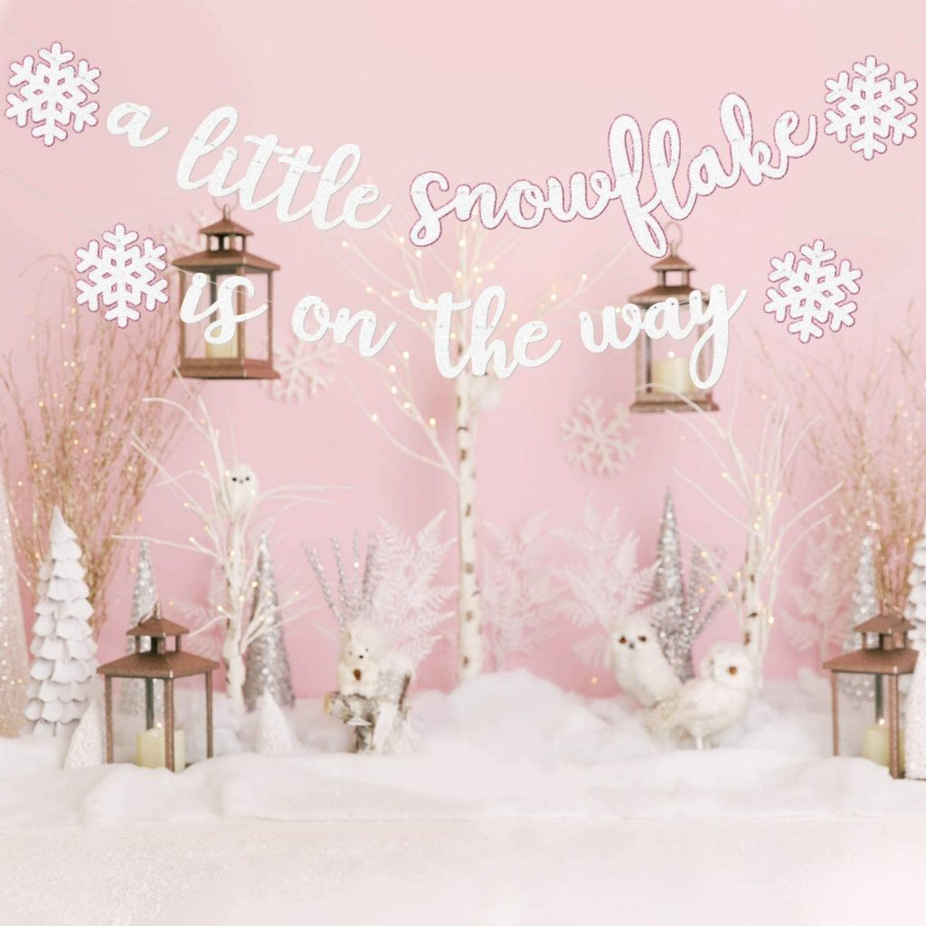 winter baby shower - snowflake banner
