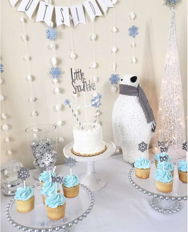 winter baby shower dessert table