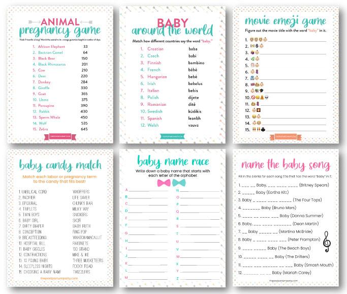 Baby shower games bundle 1
