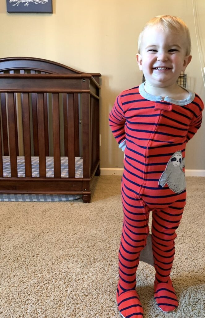 special pajamas to keep toddler from climbing out of the crib