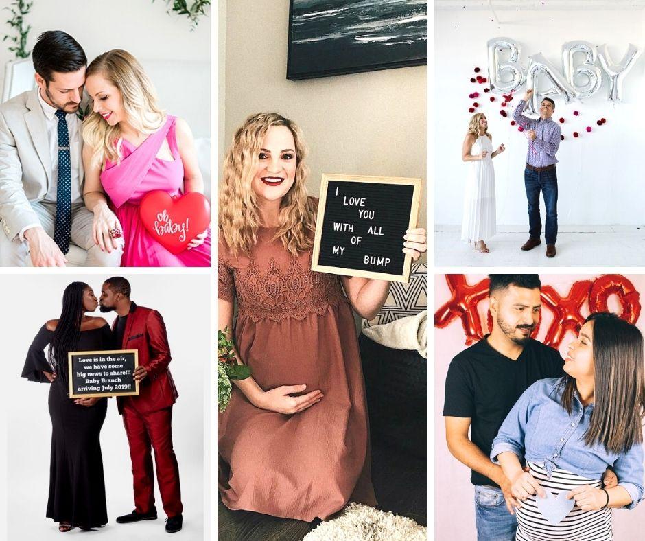 Valentines day pregnancy announcement collage