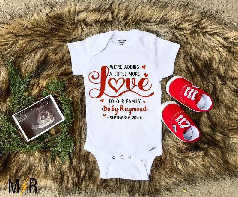 Valentine's Day pregnancy announcement onesie