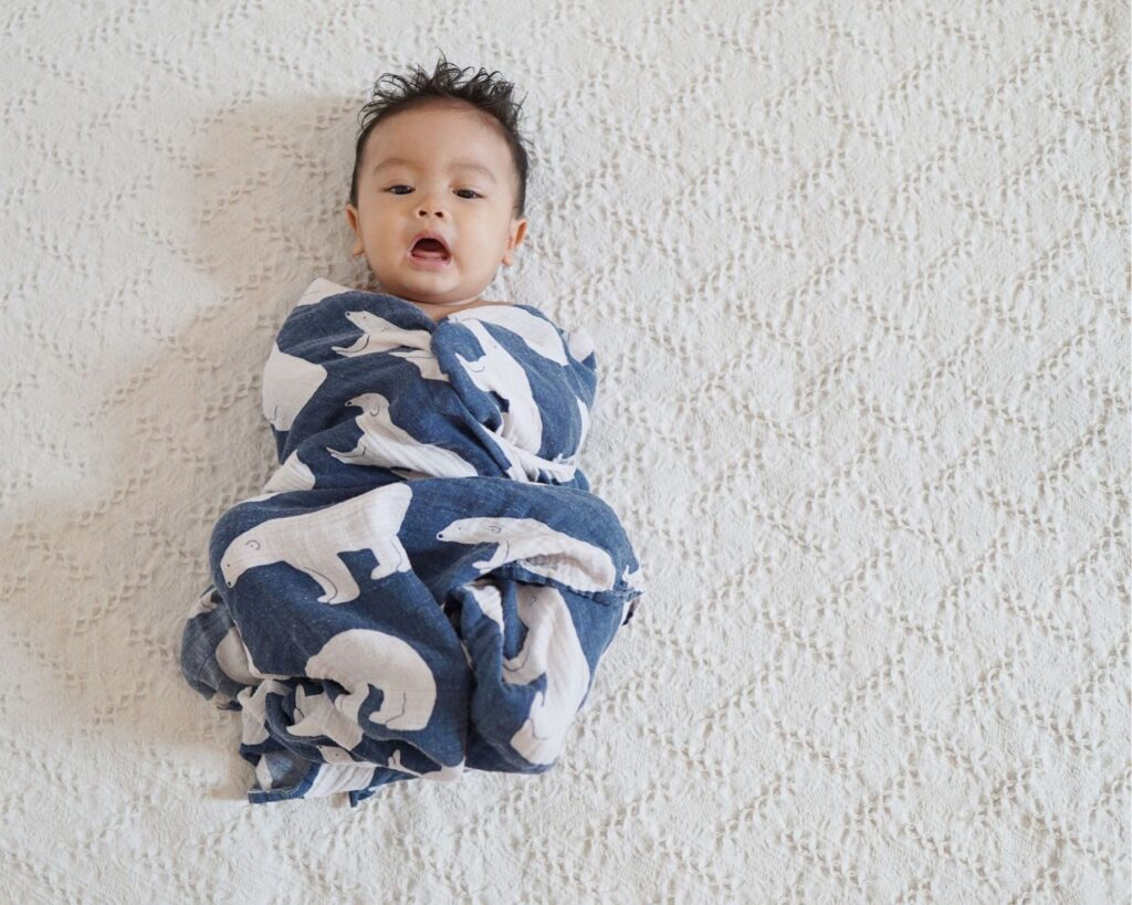 baby swaddled in higher TOG rating swaddle