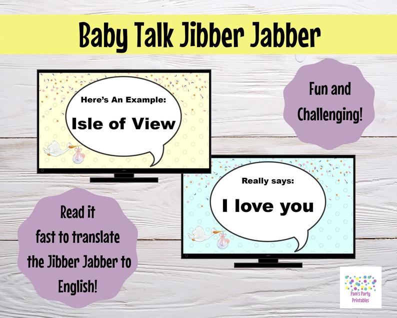 virtual baby shower game - baby talk
