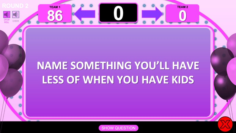 virtual baby shower game - Family Feud style
