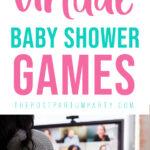 virtual baby shower games pin image