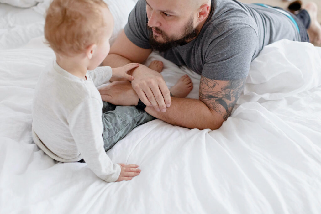 dad and son during 12-month sleep regression