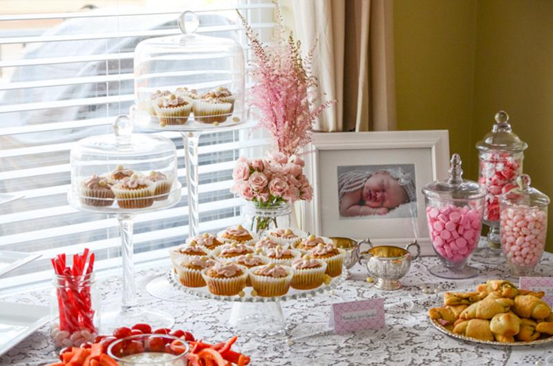 baby girl shower dessert table