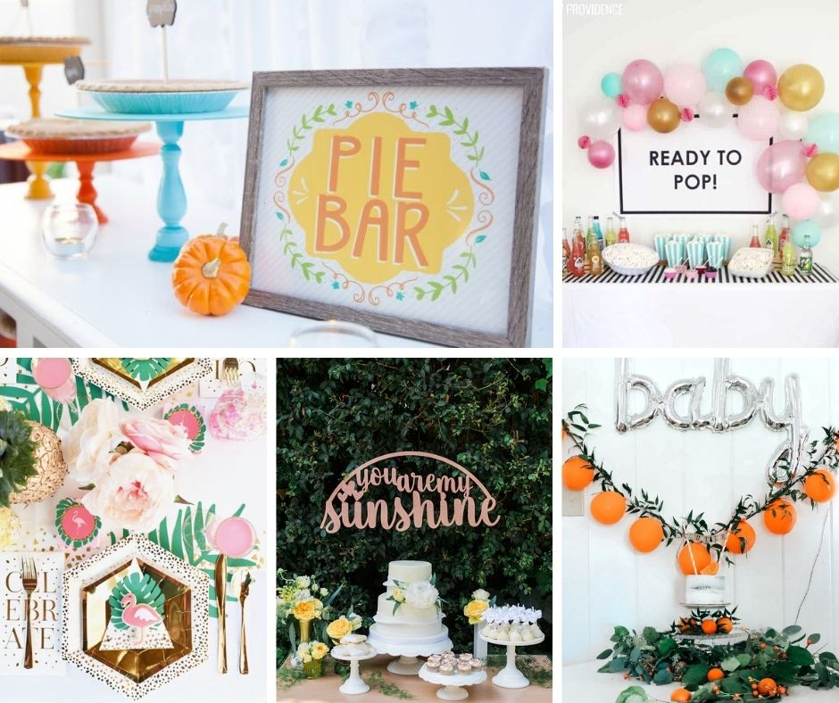 girl baby shower themes collage