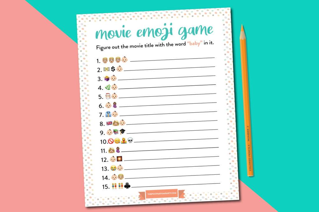baby shower emoji game