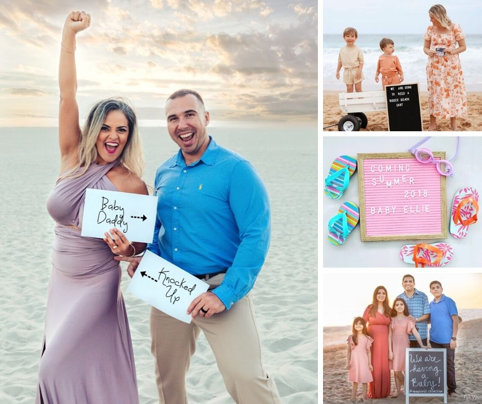 beach pregnancy announcement collage