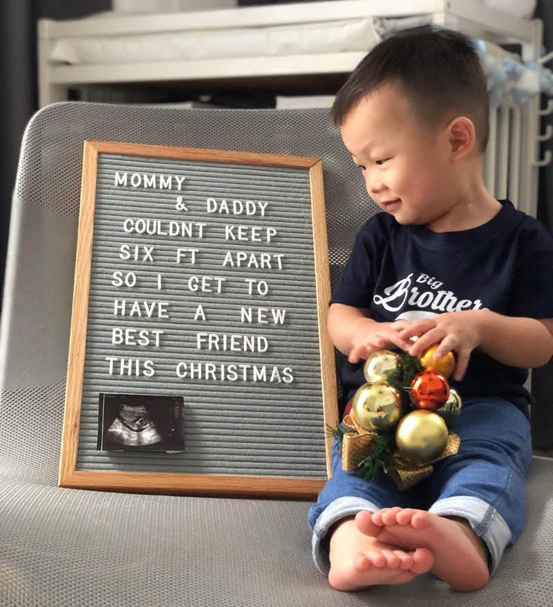 little boy making a big brother pregnancy announcement