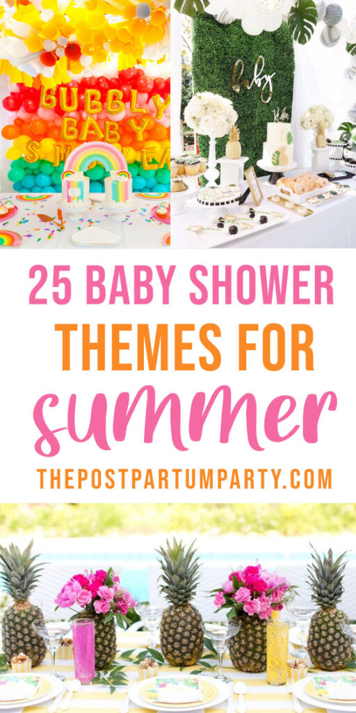 summer baby shower themes pin image