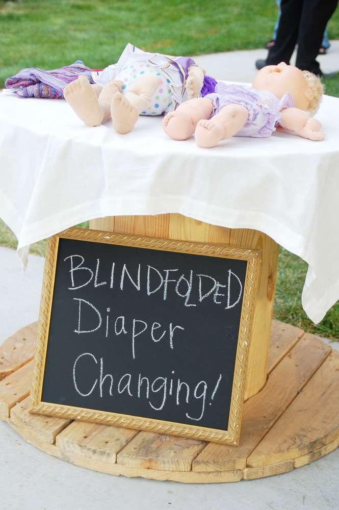blindfolded diaper station funny baby shower game