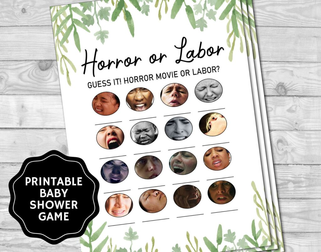 horror or labor baby shower game