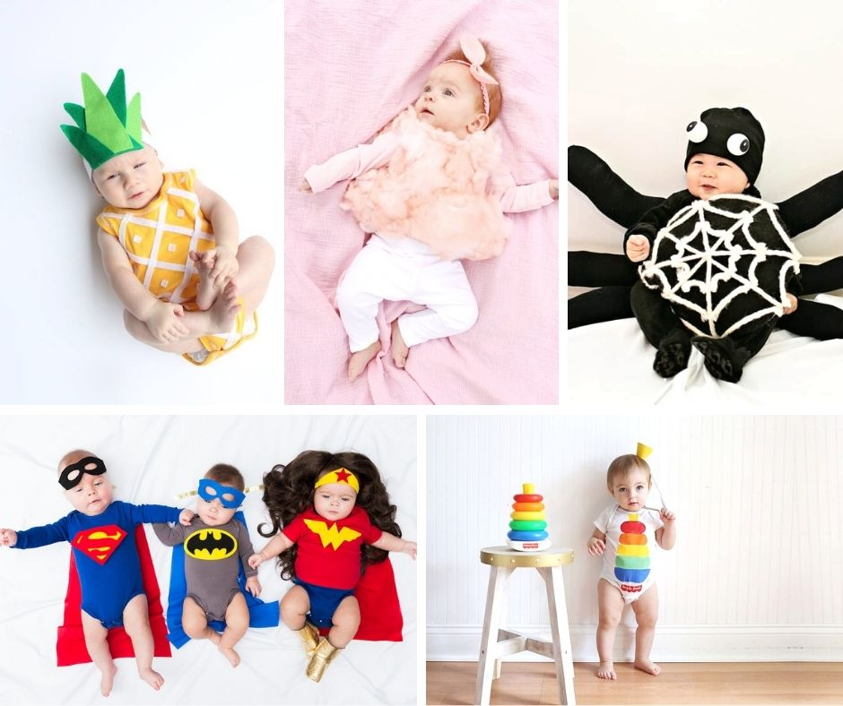 collage of DIY baby Halloween costumes