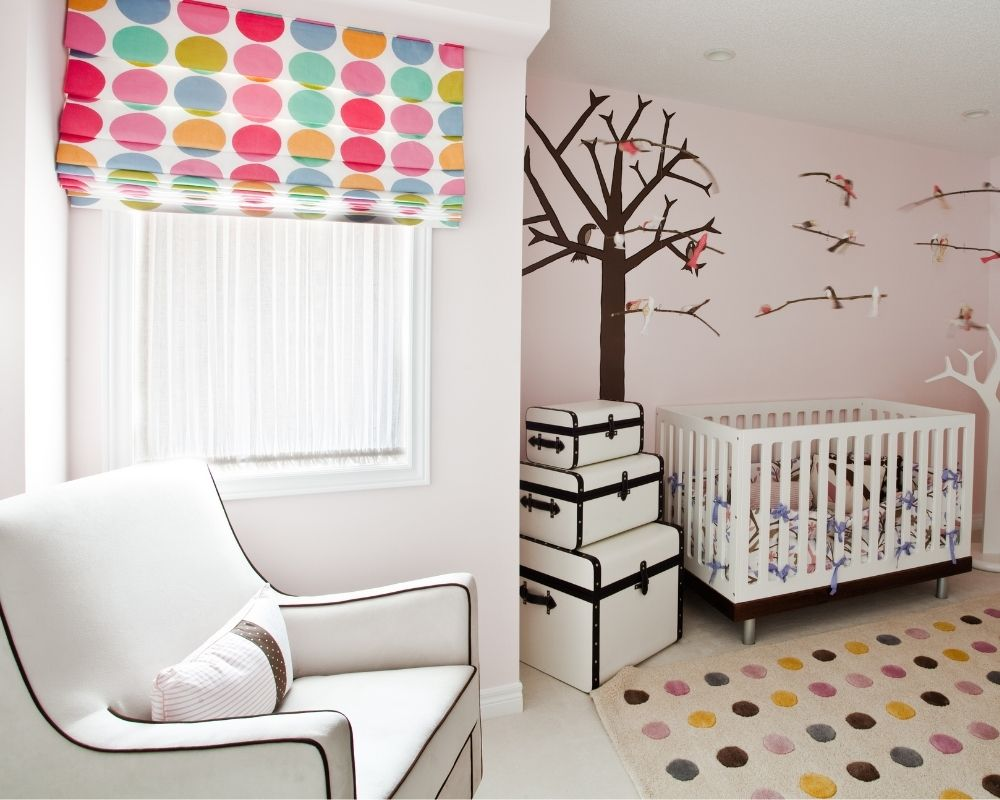 picture of baby nursery with blackout curtains - a baby registry must have