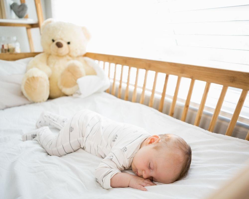 baby alseep in crib