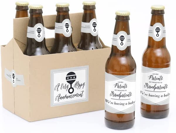 pregnancy announcement to parents beer label
