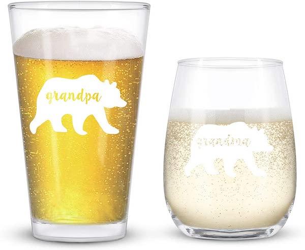 grandma and grandpa beer and wine glasses