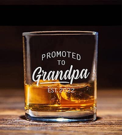 promoted to grandpa whiskey glass
