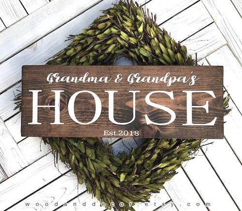 grandma and grandpa's house wooden sign