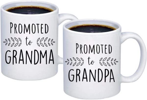 promoted to grandma and grandpa coffee mugs